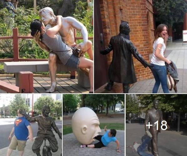 Mogłoby się wydawać, że nie ma nic bardziej banalnego, niż turysta strzelający sobie zdjęcie na tle znanego pomnika lub rzeźby. Jak pokazują jednak fotki