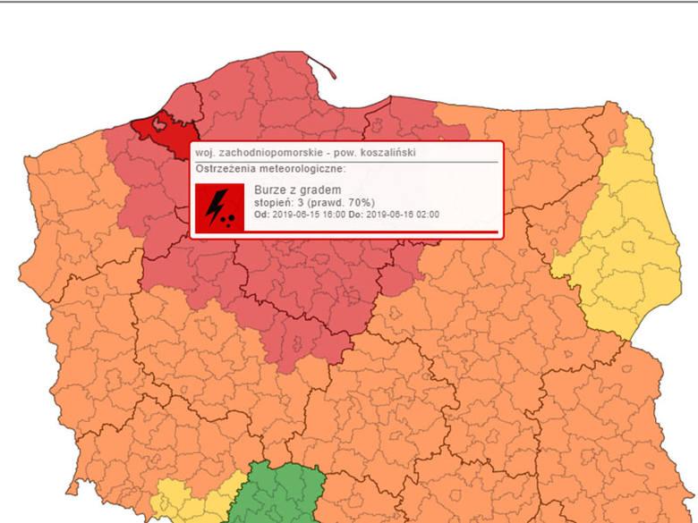Ostrzeżenie IMGW. Burze z gradem, trąby powietrzne w Koszalinie i regionie!