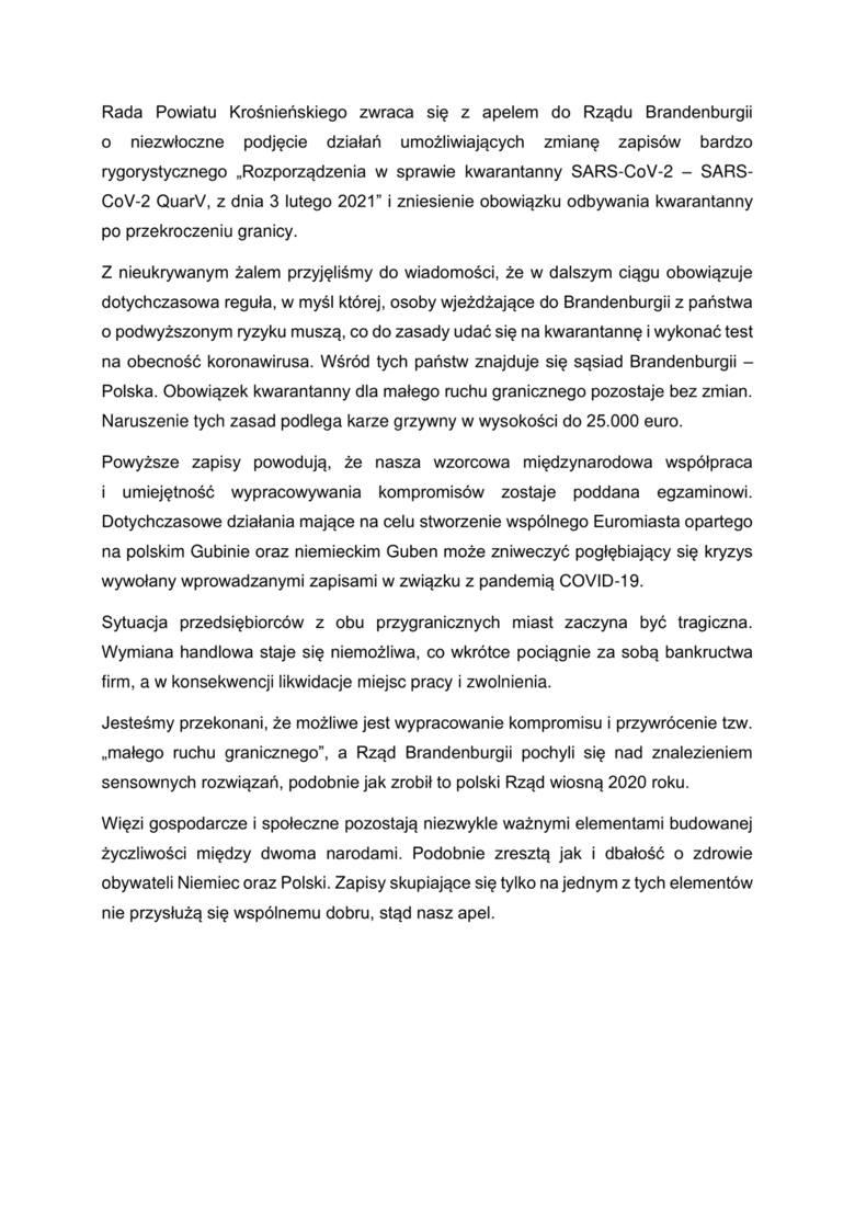 Apel radnych powiatu krośnieńskiego do władz Brandenburgii.