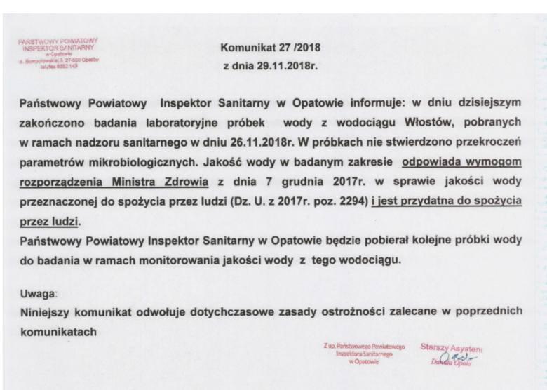 Koniec problemów z wodą w Opatowie i Lipniku. Można pić bez zastrzeżeń.