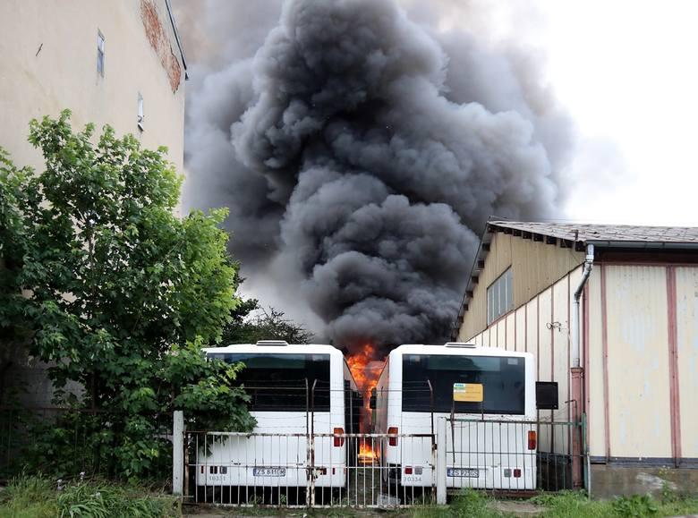 Pożar w bazie PKS w Szczecinie. Trzy autobusy spłonęły doszczętnie [ZDJĘCIA, WIDEO]