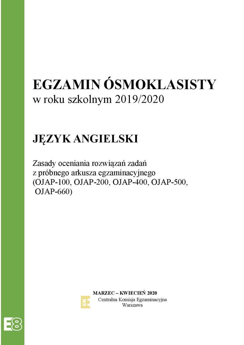 Próbny egzamin ósmoklasisty 2020: Język angielski - odpowiedzi do arkusza z zadaniami CKE
