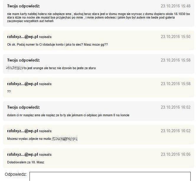 Zapis rozmowy pedofila z Krzysztofem Dymkowskim podającym się za 14-latkę
