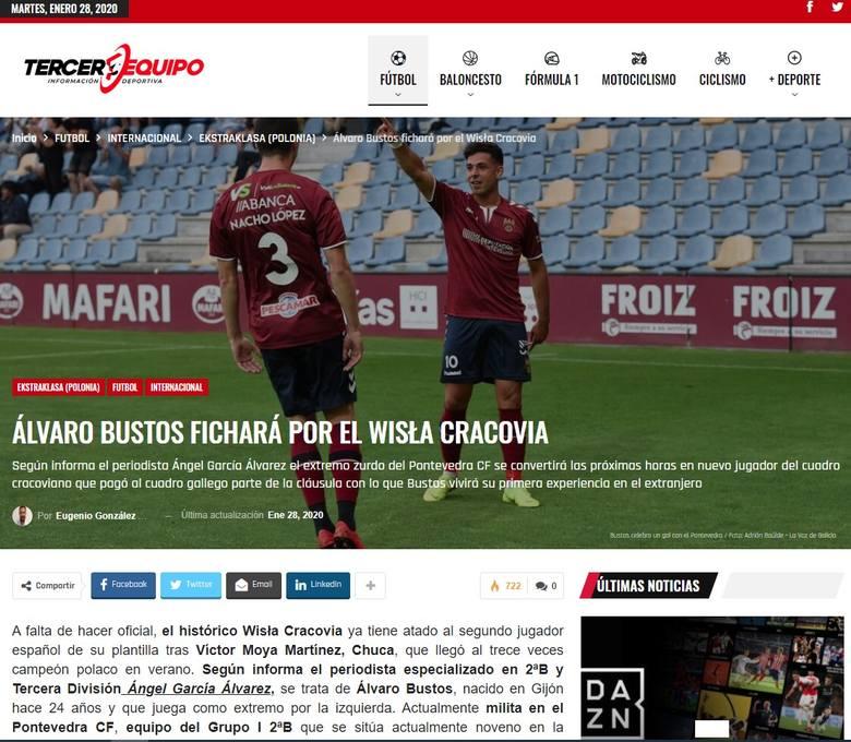 Portal Tercerequipo.com poinformował o transferze do Wisły