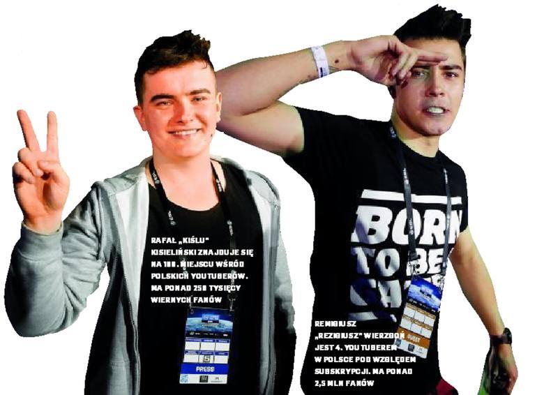 """Po lewej: Rafał """"Kiślu"""" Kisieliński znajduje się na 190. miejscu wśród polskich youtuberów. Ma ponad 250 tysięcy wiernych fanów. A po prawej: Remigiusz"""