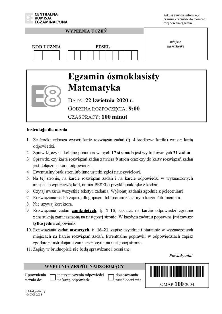 Egzamin ósmoklasisty - matematyka: Odpowiedzi i arkusz z zadaniami znajdziesz na kolejnych stronach galerii. Uwaga, nasi eksperci będą dodawać odpowiedzi