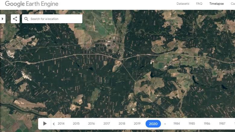 W lasach widoczna jest szachownica, oznaczająca wycięte drzewa. Na zdjęciu tereny Rzepina i Torzymia (granica powiatu słubickiego i sulęcińskiego).