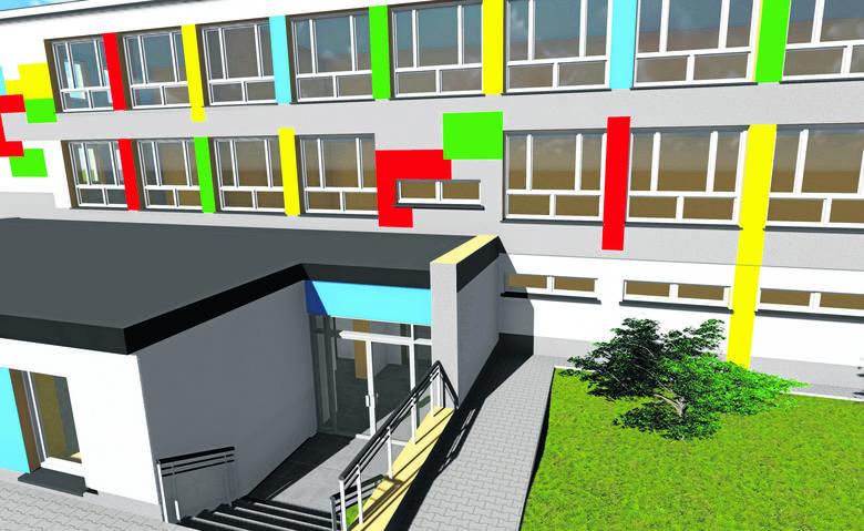 """Ta wizualizacja przedstawia Przedszkole Samorządowe nr 1 """"Jarzębinka"""" w Słubicach po rozbudowie. Między innymi powstanie tu nowa sala dla 25 dzieci z"""