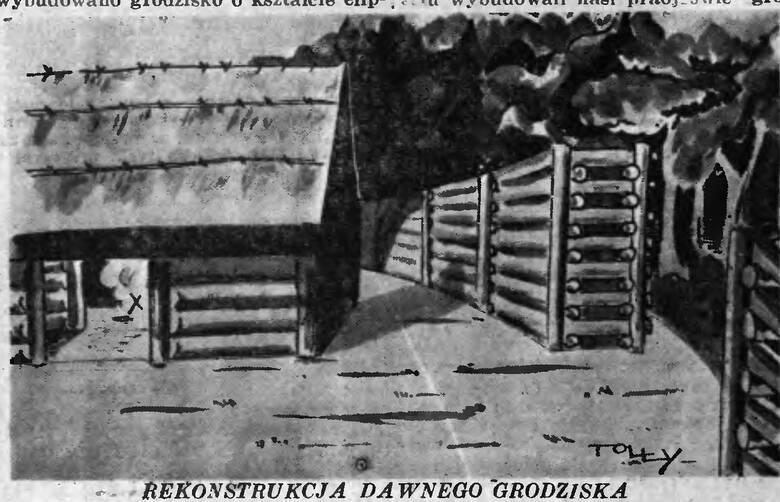 """Na koniec rekonstrukcja fragmentu grody w Kamieńcu pod Czarnowem opublikowana w 1937 roku na łamach """"Słowa Pomorskiego""""."""