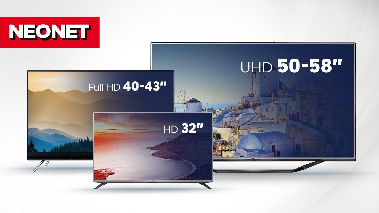 "HD 32"", FullHD 40-43"", UHD 50-58."
