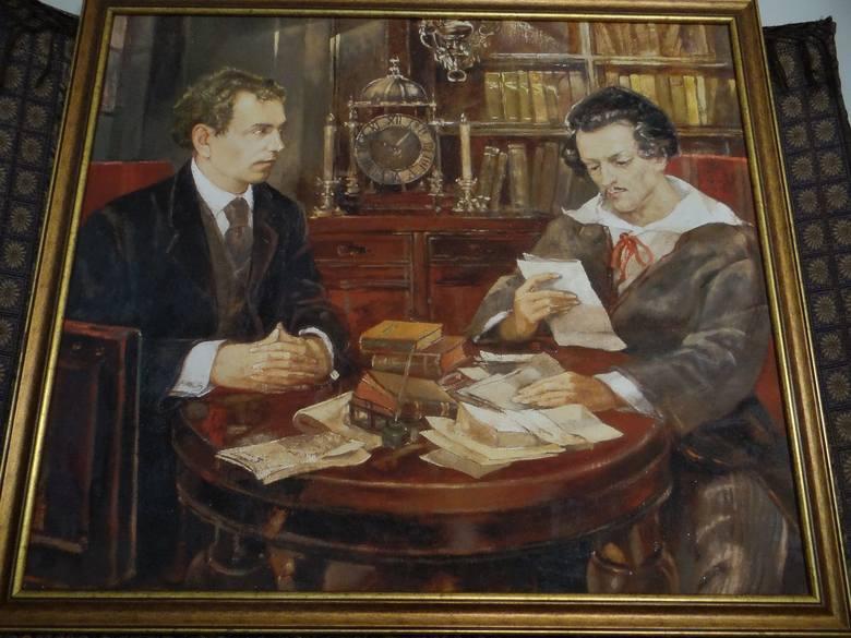 Dworek-muzeum Juliusza Słowackiego. Obraz przedstawiający poetę (z prawej) i nieznaną osobę