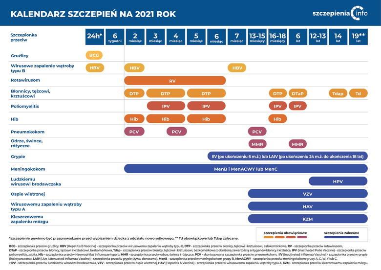 Obowiązkowe szczepienia w Polsce. Oto kalendarz szczepień na 2021 rok [lista]