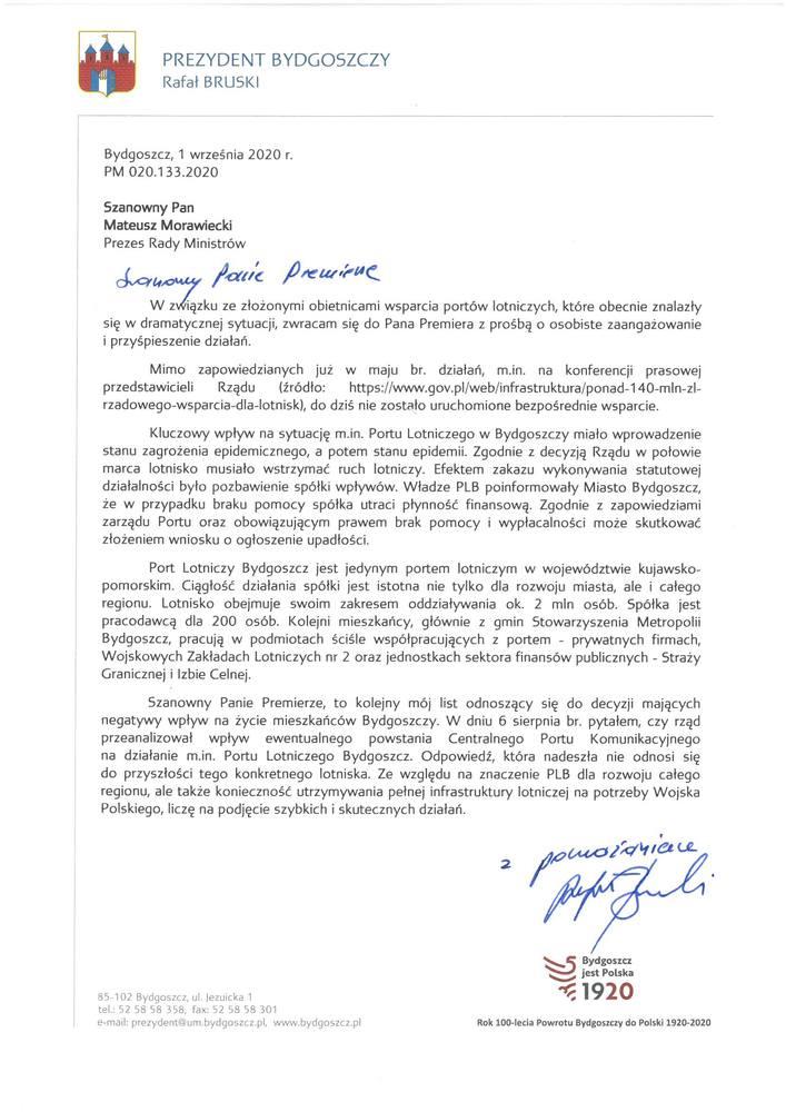 List prezydenta Bruskiego do premiera Morawieckiego