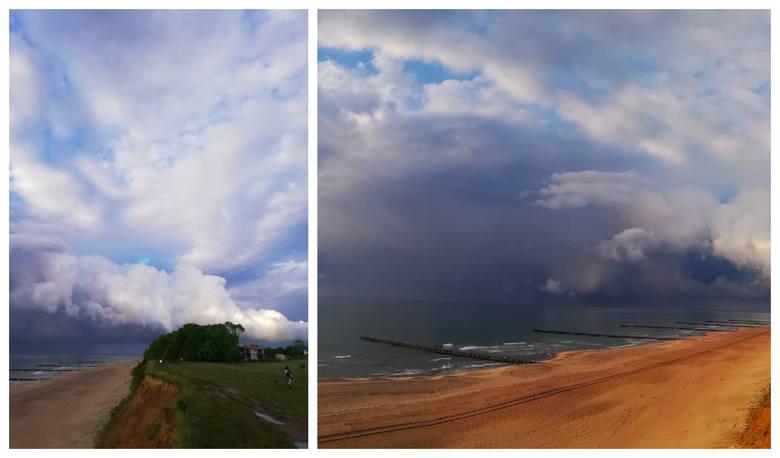 Zachwycające burzowe niebo nad plażą w Trzęsaczu [GALERIA]
