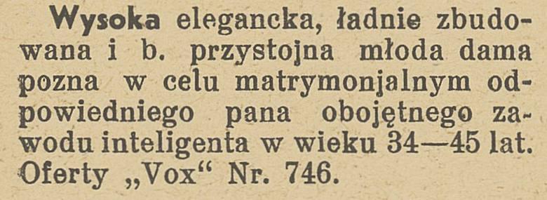 """Ogłoszenia matrymonialne z lat 30. """"Szukam królewicza z bajki"""". Ogłoszenia pań"""