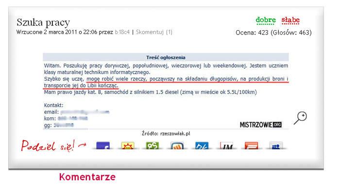 Ogłoszenie mieszkańca Rzeszowa trafiło na stronę mistrzowie.org.