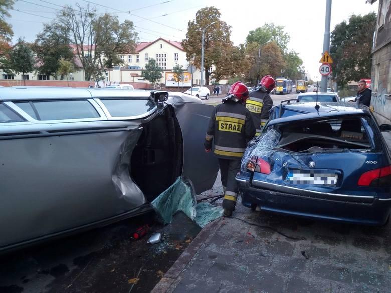 Wypadek na Powstańców Wielkopolskich w Szczecinie [zdjęcia]