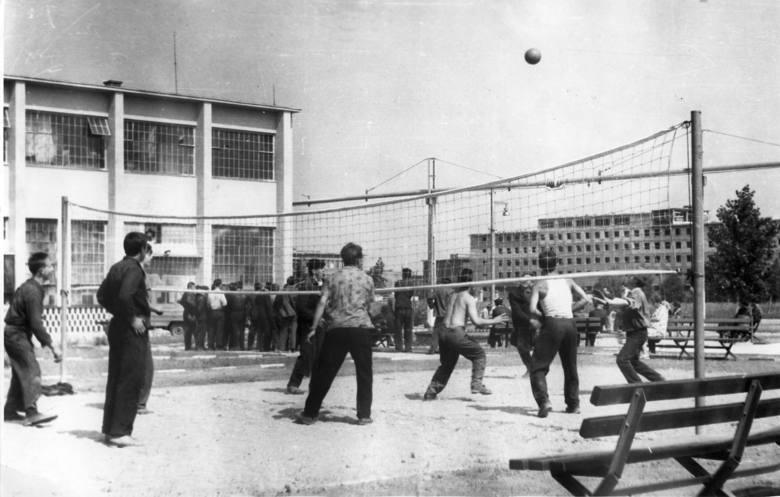 Obok hali montażu urządzono boisko do gry w siatkówkę