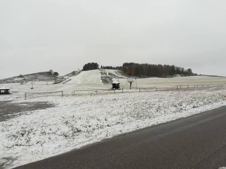 Zima w Podlaskiem. Pierwszy śnieg spadł w Suwałkach