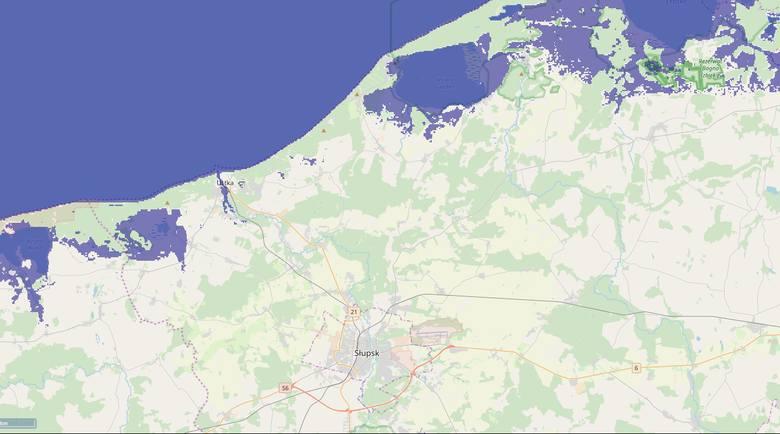 Ocieplający się klimat sprawia, że poziom wody w oceanach rośnie. Sprawdzamy, jak będzie wyglądał region słupski po podniesieniu poziomu wody w Bałtyku.