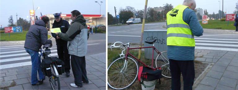 Koszalińska policja rozdawała kamizelki odblaskowe dla rowerzystów