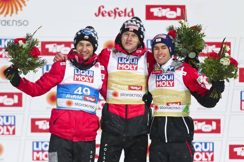Podium, od lewej: Kamil Stoch, Dawid Kubacki, Stefan Kraft