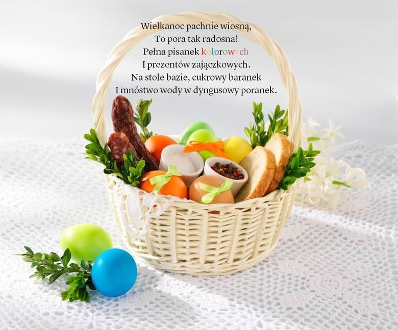 Wielkanoc pachnie wiosną, To pora tak radosna!Pełna pisanek kolorowych I prezentów zajączkowych.Na stole bazie, cukrowy baranekI mnóstwo wody w dyngusowy