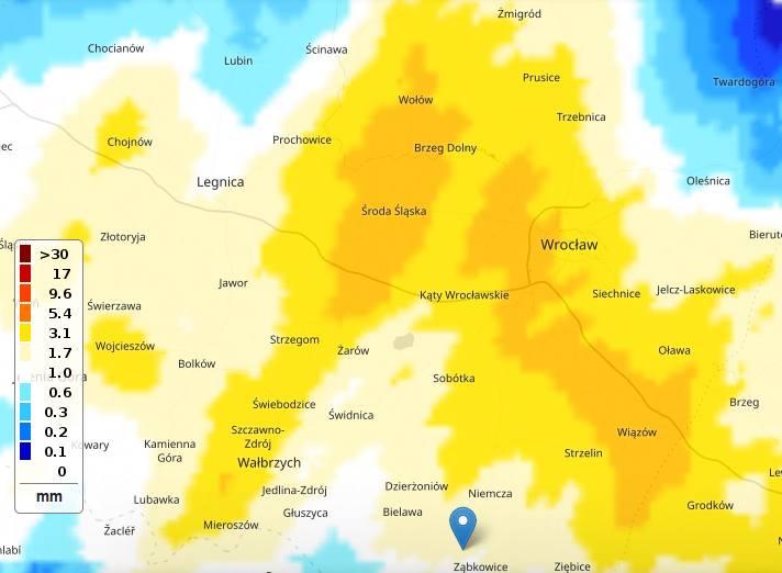 Opady deszczu w godz. 6.45 - 7.45