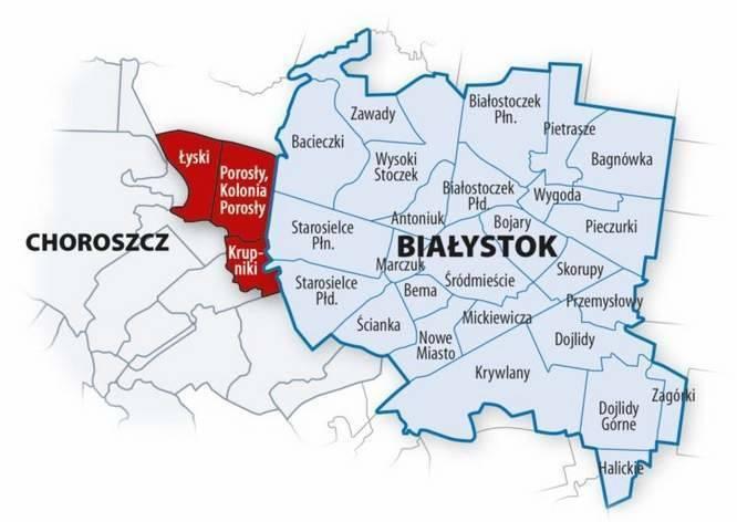 Krupniki, Łyski, Porosły i kolonia Porosły chcą przyłączenia do Białegostoku. Mieszkańcy gminy Choroszcz nie chcą zmiany granic.