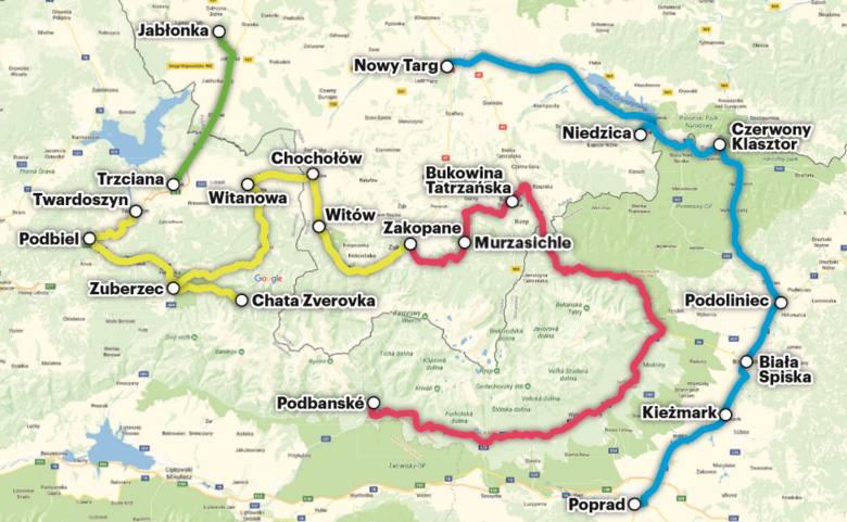 Cztery trasy połączeń transgranicznych. Najdłuższe będą do Popradu i Podbańskiego - ponad 90 km, 85 km będzie miała do Twardoszyna, a niecałe 20 do Jabłonki.