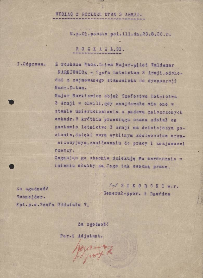 Jeden z dokumentów, jakie pozostały po majorze pilocie Władysławie Waldemarze Narkiewiczu - ze sztabu armii generała Sikorskiego