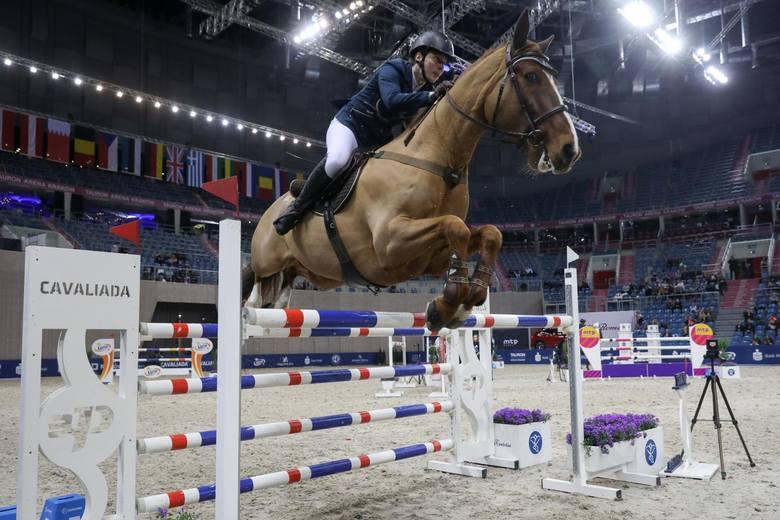 28.02.2019 krakow cavaliada tauron arena konie skoki  jezdziec kon fot. anna kaczmarz  / dziennik polski / polska press