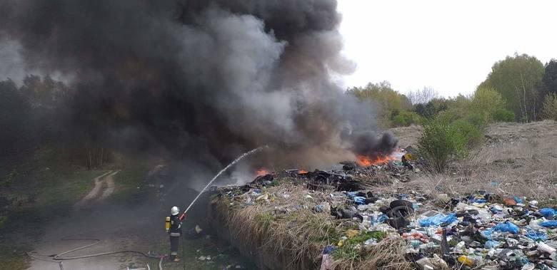 Słup czarnego dymu wzbił się w środowe przedpołudnie w niebo nad Radoszycami w powiecie koneckim. Jak informowali strażacy, paliło się nieczynne wysypisko