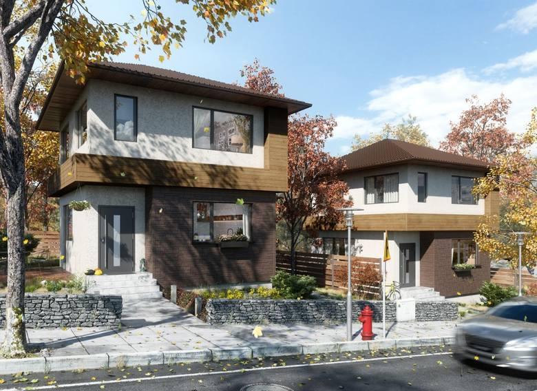 Połączenie cegły i drewna na elewacji sprawi, że dom będzie elegancki już od samego wejścia.
