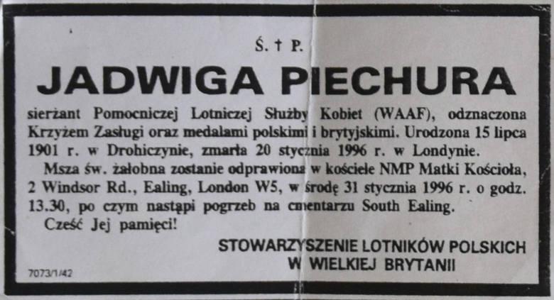 Jadwigę Piechurę żegnali przedstawiciele Stowarzyszenia Lotników Polskich w Wielkiej Brytanii.<br /> <br />