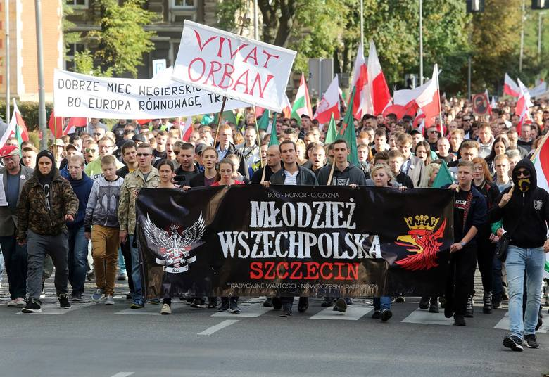 Manifestacja przeciw imigrantom w Szczecinie.