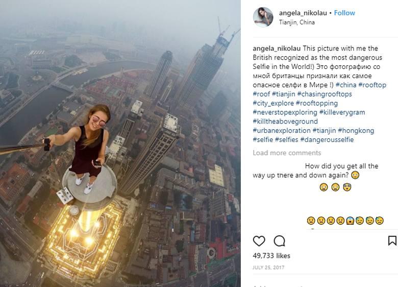 Angela Nikolau to gwiazda Instagramu z Rosji. Robi sobie zdjęcia, które zapierają dech w piersiach. Ekstremalne selfie to jej specjalność! Zobaczcie