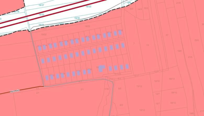 Fragment geoportalu, który już uwzględnia osiedle 47 domów