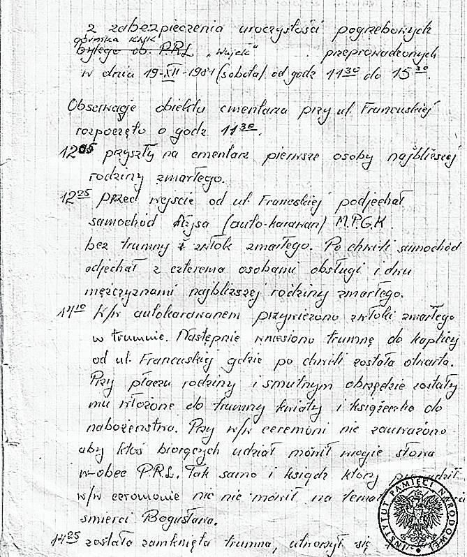 Notatka sporządzona przez funkcjonariusza SB, obserwującego pogrzeb Bogusława Kopczaka. SB była obecna na pogrzebach wszystkich  górników