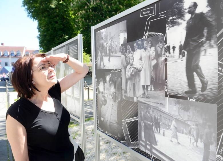 Wystawę z zaciekawiem ogląda Anna Michalska z Zielonej Góry