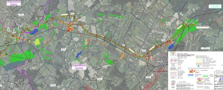 Mapa S11 na odcinku od Kępna do obwodnicy Olesna.