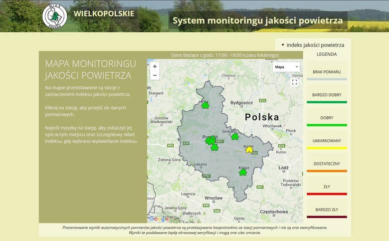 Mapa Monitoringu Jakości Powietrza - http://powietrze.poznan.wios.gov.pl/