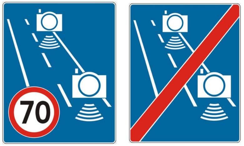 """Nowy znak D-51a """"automatyczna kontrola średniej prędkości"""" będzie wskazywał fragment drogi objęty odcinkowym pomiarem prędkości, natomiast"""
