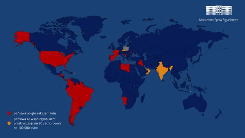 Zakaz lotów przedłużony. Nowa lista państw, z których od 16 września nie wrócimy do Polski przez epidemię koronawirusa
