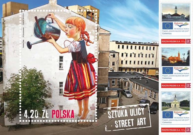 Znaczki pocztowe z bia ymstokiem dziewczynka z konewk to for Mural dziewczynka z konewka