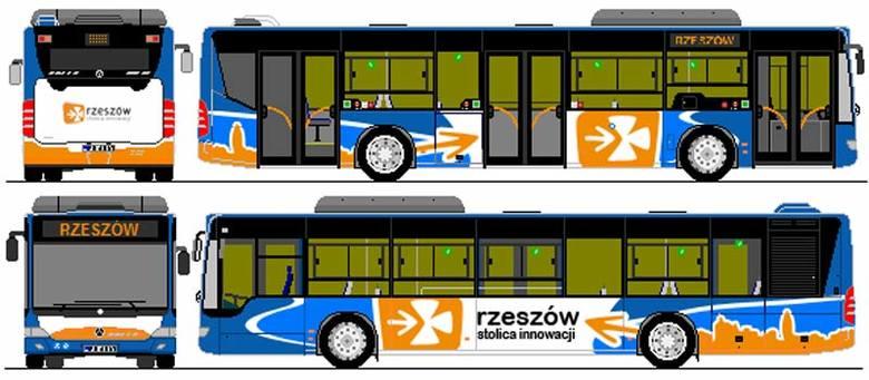 Propozycja pana Michała to niebiesko-białe nadwozie z pomarańczowym logo i panoramą miasta.