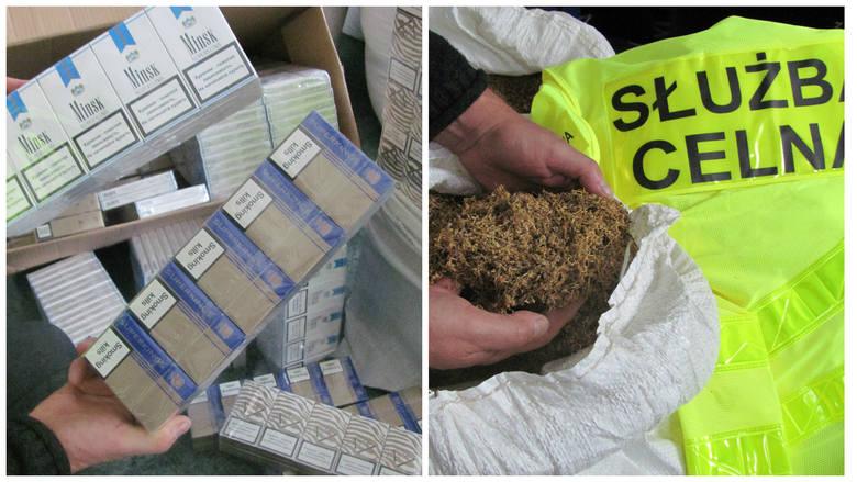 80 kg tytoniu wysokiej jakości zapakowane w trzy parciane worki, 80 worków strunowych z tytoniem, 1600 paczek papierosów bez znaków akcyzy i spirytus