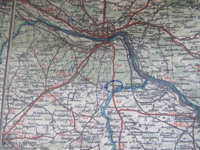 Na mapie zaznaczono, gdzie znajdowała się dawna Pieczenia