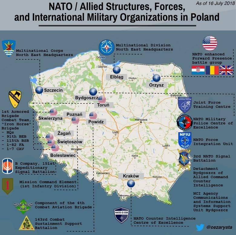 Takie bazy USA i NATO obecnie funkcjonują w Polsce