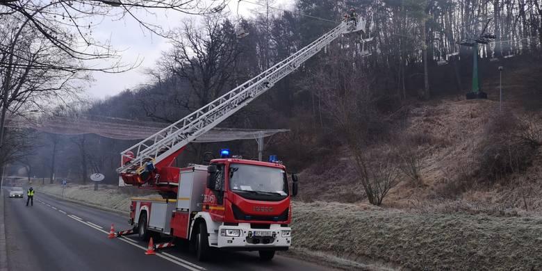 We wtorek na dolnej stacji wyciągu narciarskiego w Przemyślu odbyły się ćwiczenia ewakuacyjne na wypadek awarii i zatrzymania kolei. W ćwiczeniach udział